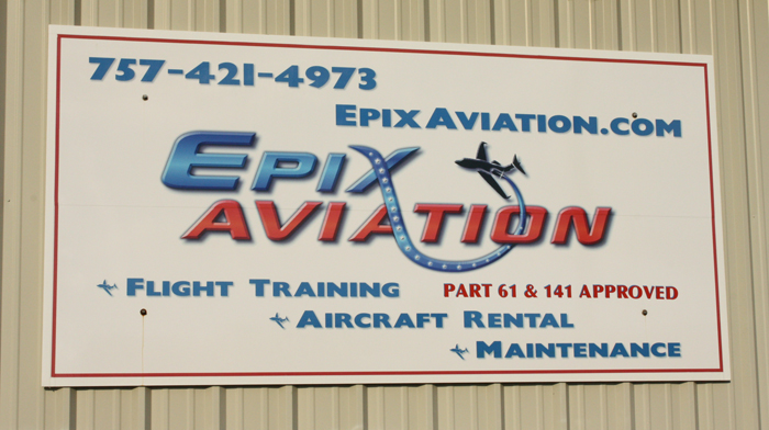 epix aviation building sign